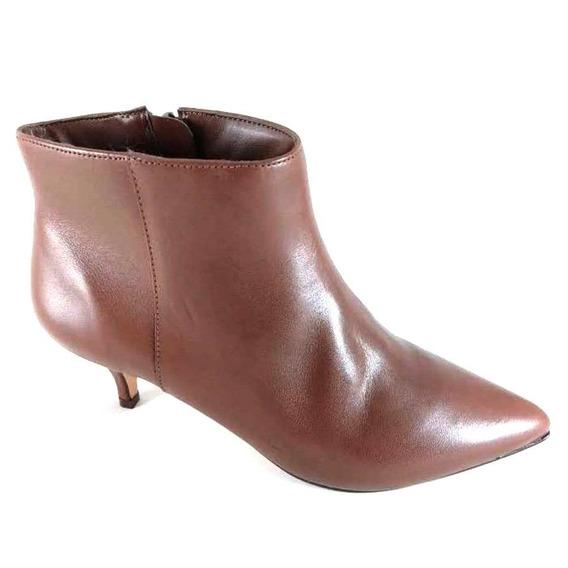 Bota Cano Curto Sapatoweb Salto Couro Marrom - Wrosanamarr