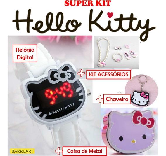 Relógio Infantil Hello Kitty + Pulseira, Estojo E Chaveiro