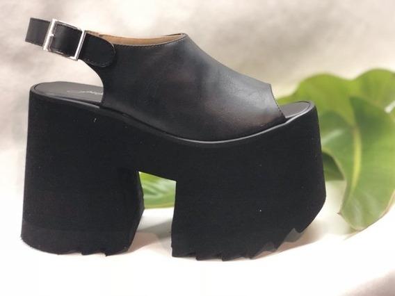 Sandalia Boquita Pez Plataforma Negra -moda 2018-