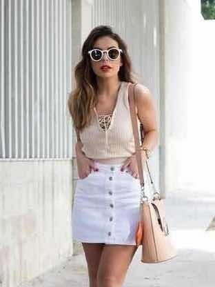 Falda Mezclilla Blanca