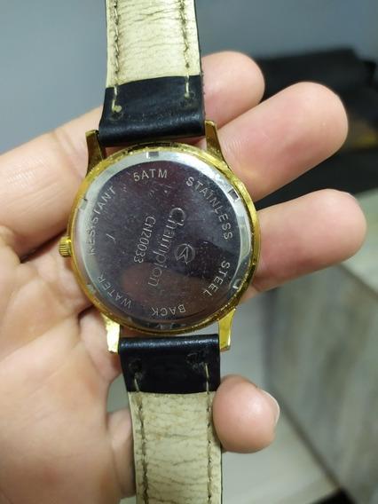 Relógio Champion Cn20033, Pulseira De Couro, Banhado, Usado.