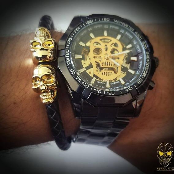 Reloj Mecanico Skull Calavera Negro Skeleton + Pulsera