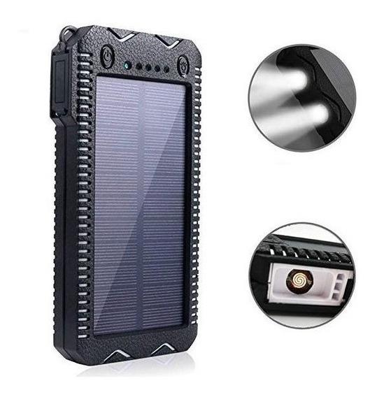 Power Bank Solar Uso Rudo Con Lampara Y Encendedor 8000mah
