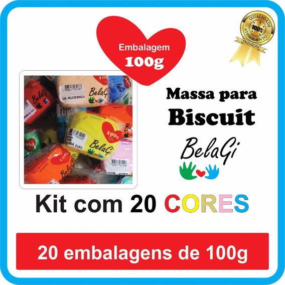 Massa De Biscuit Kit 20 Cores X 100g Belagi