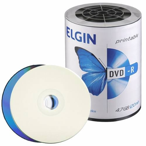2 Tubos Dvd-r Com Printable 4,7gb 16x Embalagem C/100 Elgin