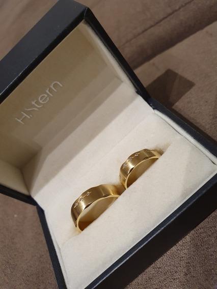 Par De Aliança Ouro 18k Com Diamantes - Code Hstern