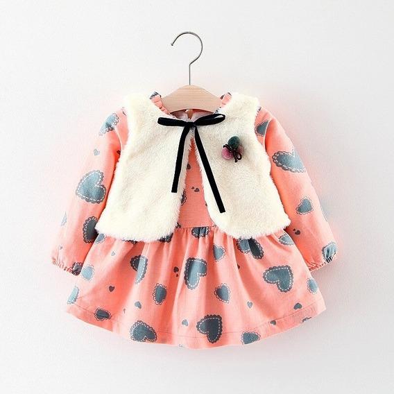 Lindo Vestido Con Chaleco Para Bebe Niña 2pz Temp Invierno