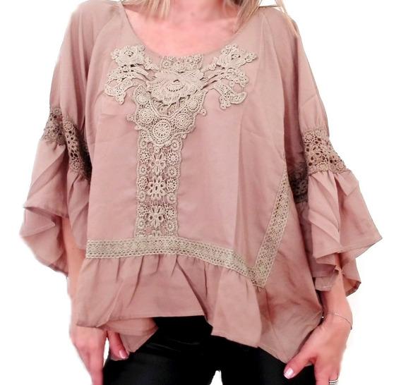 Blusa Mujer Camisa Camisola Noche Fiesta Importada Guipiur