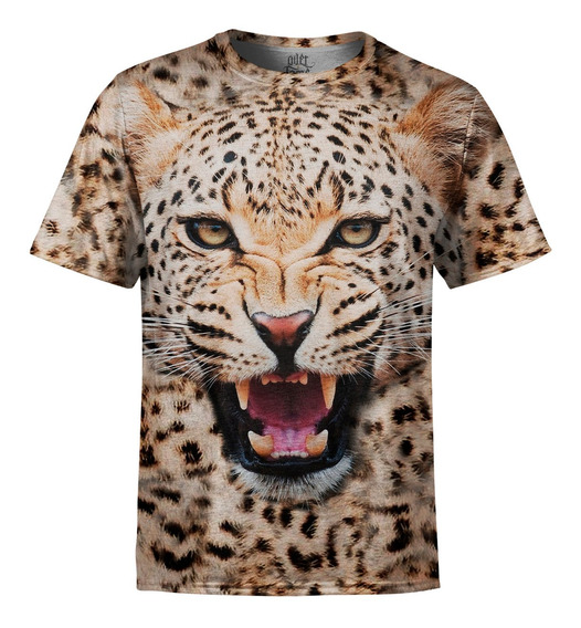 Camiseta Masculina Big Face Onça Estampa Digital