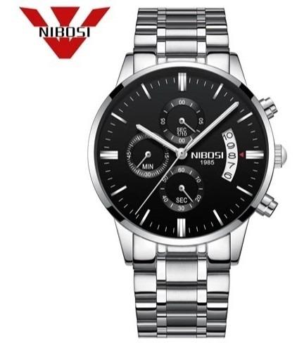 Relógio Nibosi Inox Prata Fund Preto Barato Funcional+estojo