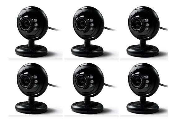 6 Webcam P/play 16mp Nightvision Microf Usb Pret Multilaser