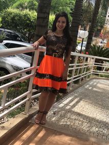 Vestidos Evangélicos Femininos Detalhe Onça Neon Estampado