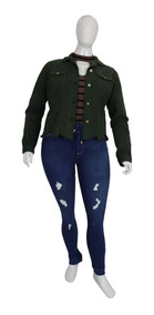 Jaqueta De Sarja Feminina Plus Size Cambos Verde Lançamento