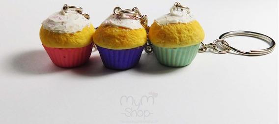 3 Llaveros Cupcakes Amistad Acua Rosa Morado Cute Kawaii Mym