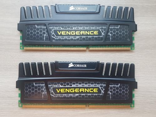 Imagem 1 de 2 de Memória Corsair Vengeance 8gb (2 X 4gb) Ddr3 1600 Mhz Preta