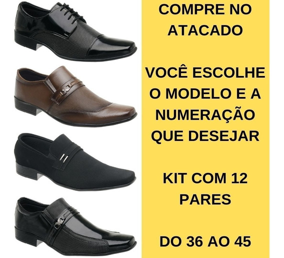 12 Pares Sapato Social Masculino Couro Ecológico Kit Revenda