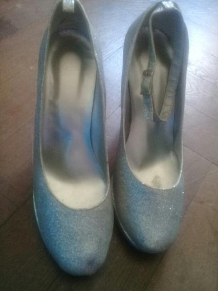 Zapatos De Gibre Plateado