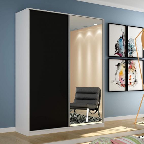Guarda Roupa Solteiro Com Espelho 2 Portas De Correr C