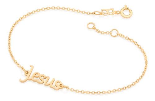 Imagem 1 de 1 de Pulseira Folheado A Ouro Rommanel Escrito Jesus 551521