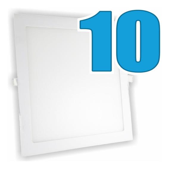 Kit 10 Painel Plafon Luminária Embutir Quadrado 6w Bivolt