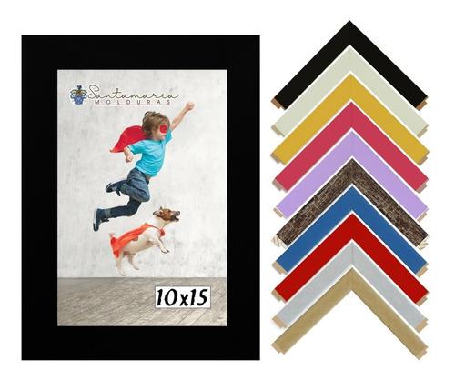 Kit 10 Porta Retrato Moldura 10x15 Em Madeira Com Vidro