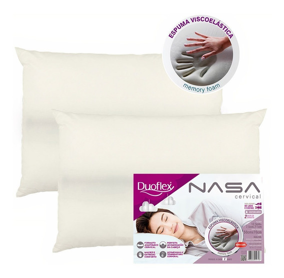 Kit 2 Travesseiros Nasa Viscoelástico Cervical Duoflex