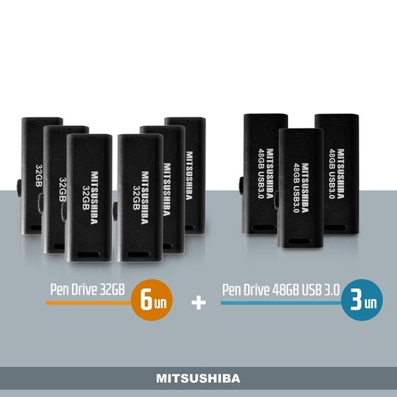 Kit Pen Drive 32gb 6pcs + 48gb (usb 3.0) 3pcs Mitsushiba