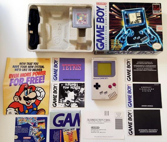 Game Boy Classic Na Caixa + Jogos Tetris E Krusty