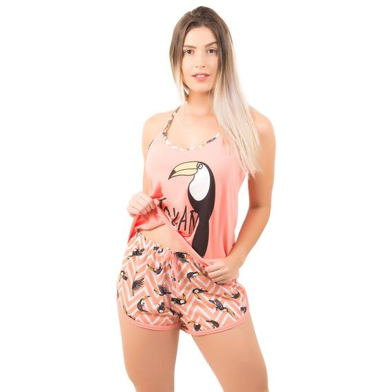 Kit 2 Pijamas Feminino Curto Blusinha Alça E Short Doll Est.