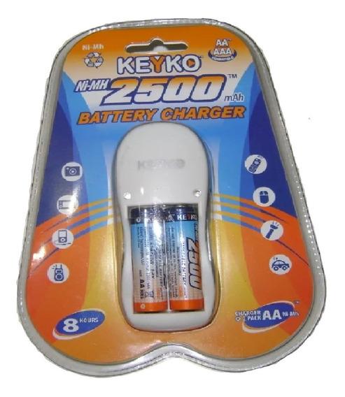 Pilas Aa Recargables 2500mah + Cargador Keyko