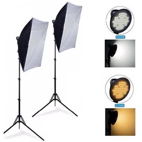 Kit Iluminação Estúdio Softbox Led Light 50x70 126 Leds