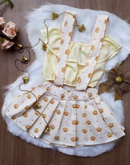 Salopete Com Tiara Infantil, Body Feminina Roupa De Bebê
