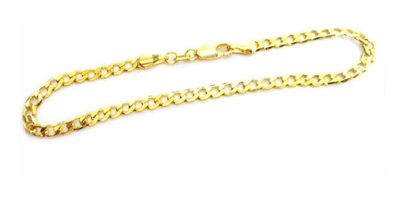Pulseira Masculina Fina Flat 3mm Elo 1 Por 1 Folheado A Ouro