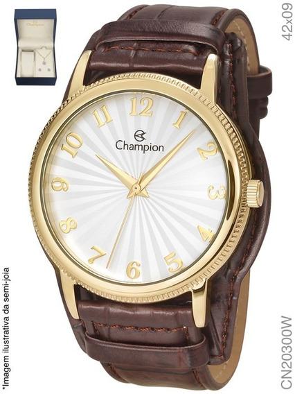 Relógio Champion Feminino Dourado Cn20300w Couro + Semi Jóia