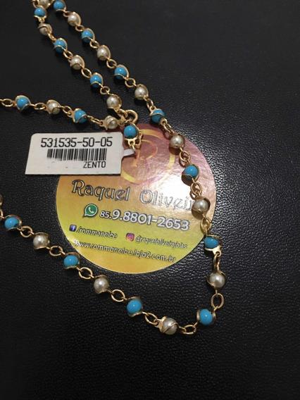 Colar De Pérola Azul Turquesa Rommanel