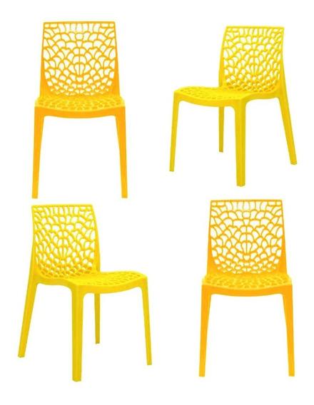Kit Conjunto 4 Unidades Cadeira Gruvyer Decorativa