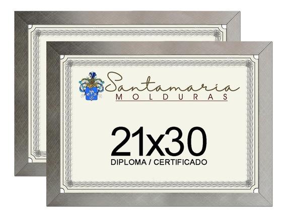 Kit 2 Molduras Porta Diploma Certificado A4 21x30 Prateado