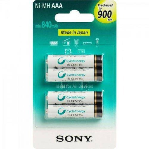 4 Pilhas Recarregável Sony Aaa (palito) 900mah Original