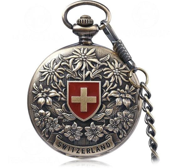 Relógio De Bolso Mecânico Suíça Automático A Corda Manual