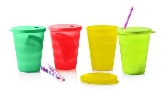 Vasos Con Tapa Para Sorbito - Set X4 Tupperware