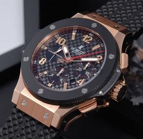 Relógio Hblo Big Bang Gold Cerâmica Cronógrafo Borracha