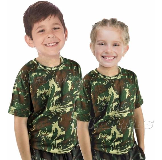 Camiseta Infantil Camuflada Exército Paintball Camisa Mallha