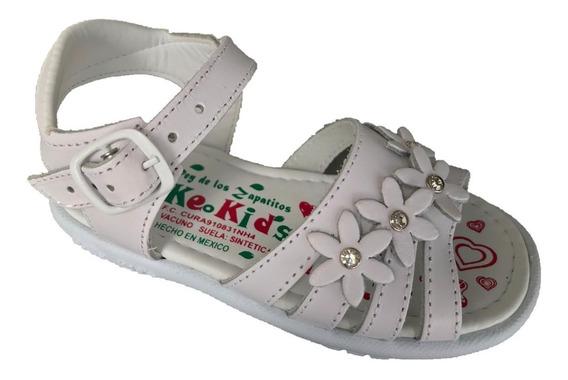 Huarache Infantil Niña Peke Kids 418 Blanco Piel Moda