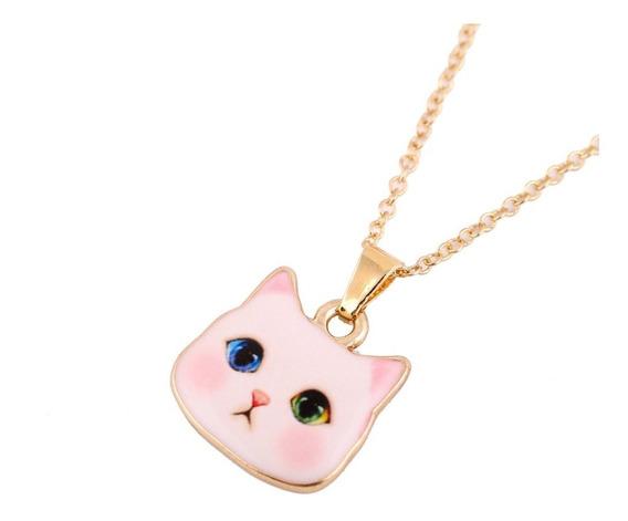 Collar Gato Ojos Bicolor Rosa Cute Mujer Elegante Regalo