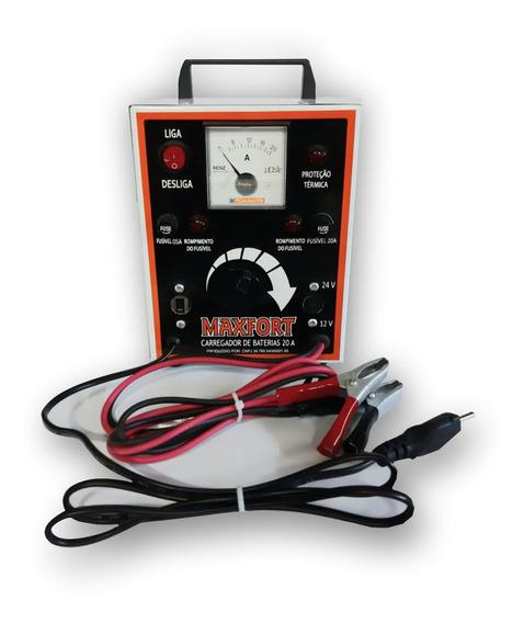 Carregador De Bateria 20a 12/24 Bivolt Com Relógio Maxfort