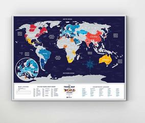 Mapa Múndi - Mapa Raspadinha - Scratch Map - Silver - Raspar