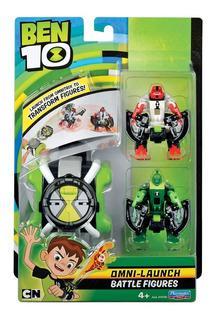 Ben 10 Omnitrix Lanzador Con Muñecos Personajes X 2