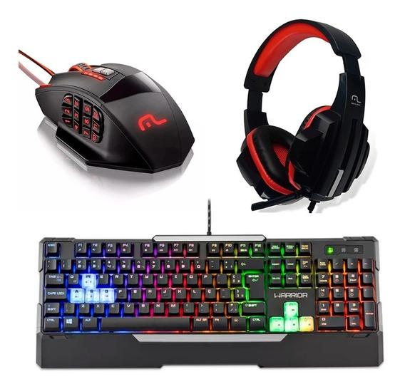 Kit Gamer Teclado Led + Mouse 4000 Dpi + Fone Headset