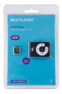 Cartão De Memoria 8gb + Mp3 Multilaser Preto