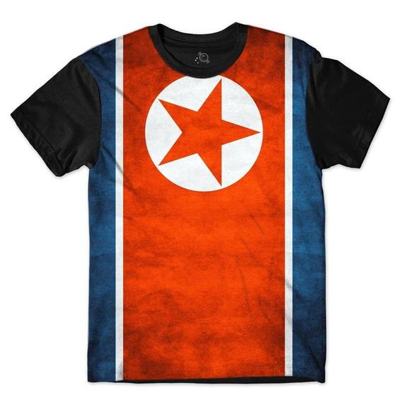 Camiseta Blusas Femininas Bandeira Coréia Do Norte